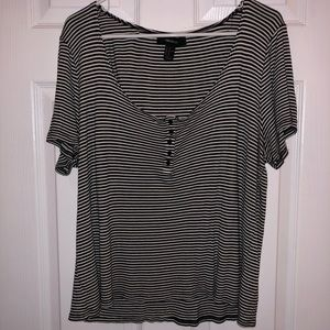 Forever 21 plus size black & white stripe top